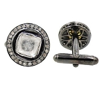 Victorian Cufflinks 1.60 Ct Uncut Natural Certified Diamond 925 Sterling Silver Wedding